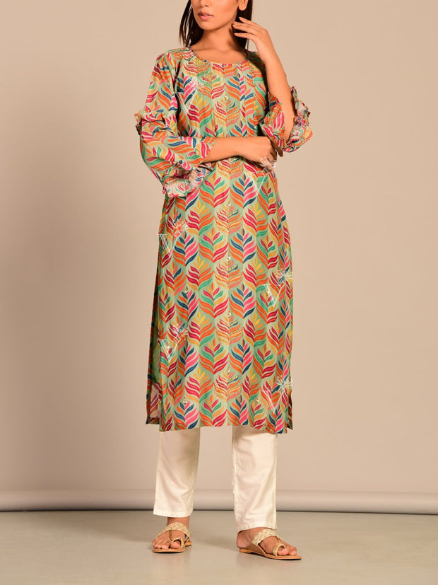 Multi Color Printed Silk Kurti