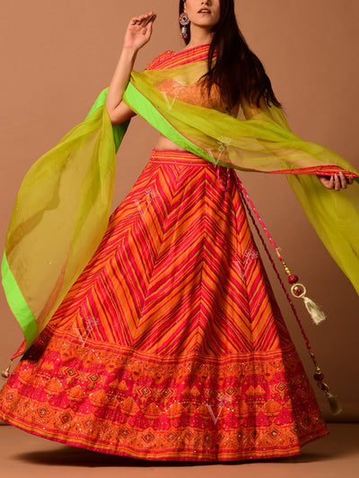 Orange Silk Leheriya Lehenga Set
