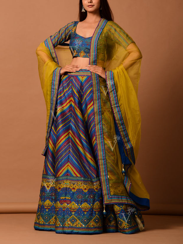 Blue and yellow leheriya lehenga set