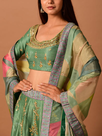 Sage Green Printed Gota Patti Lehenga Set