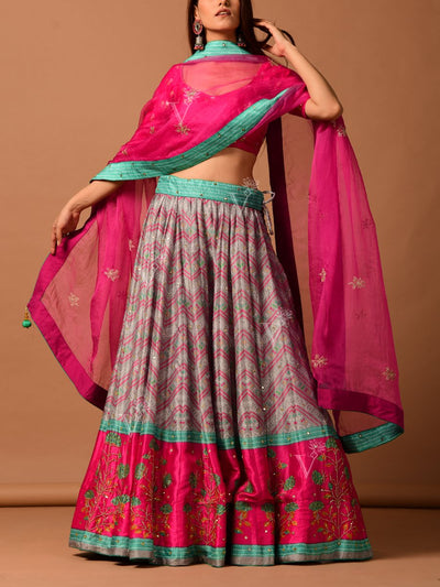 Green Silk Blend And Organza Lehenga
