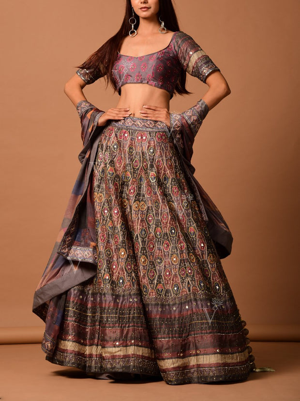 Grey Silk Printed Lehenga Set