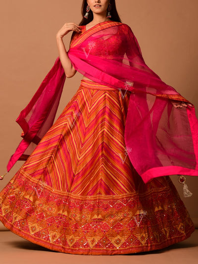 Orange Printed Leheriya lehenga Set