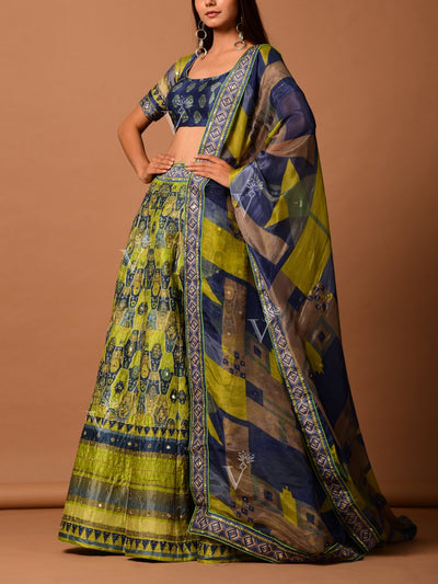 Yellow Silk Printed Lehenga Set
