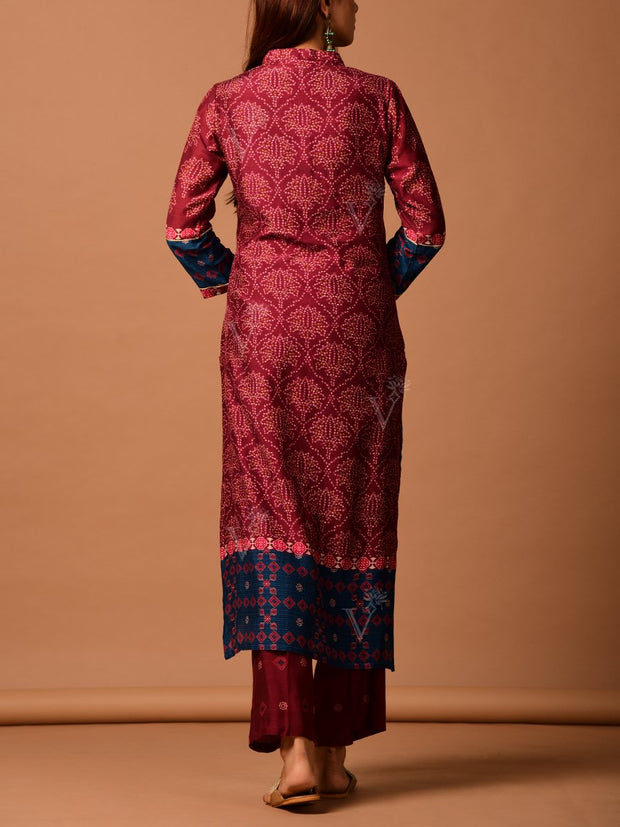 Maroon Cotton Silk Kurta Set