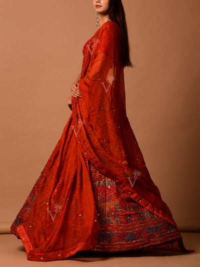 Rust Leheriya Printed Lehenga Set