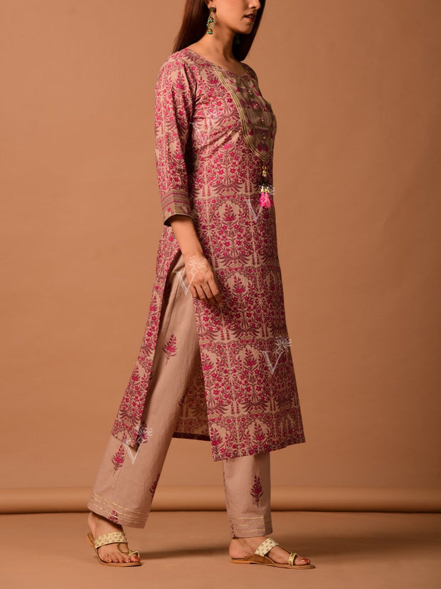 Pink And Beige Printed Kurta Set