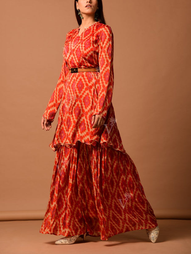 Rust Chiffon Printed Sharara Set