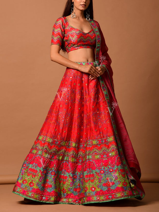 Red Silk Printed Lehenga Set