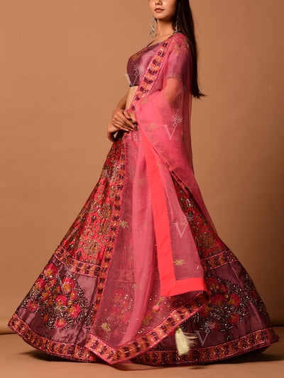 Onion Pink Silk Printed Lehenga Set