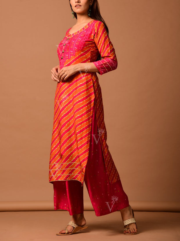 Pink And Orange Leheriya Bandhani Kurta Set