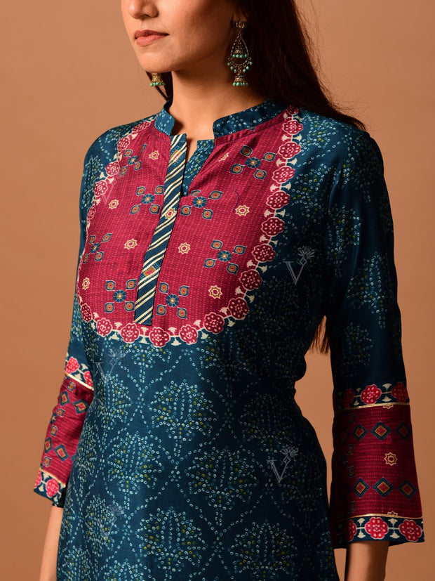 Teal Blue Bandhani Printed Kurta Set