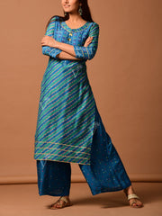 Peacock Blue Silk Bandhani Kurta Set