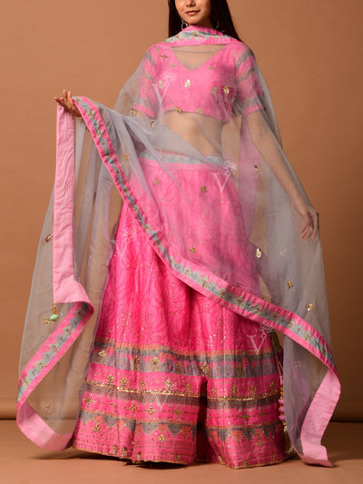 Light Pink Silk Printed  Lehenga Set