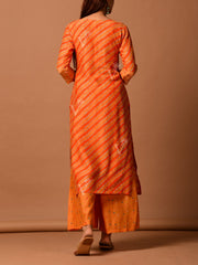 Orange Silk  Bandhani Kurta Set
