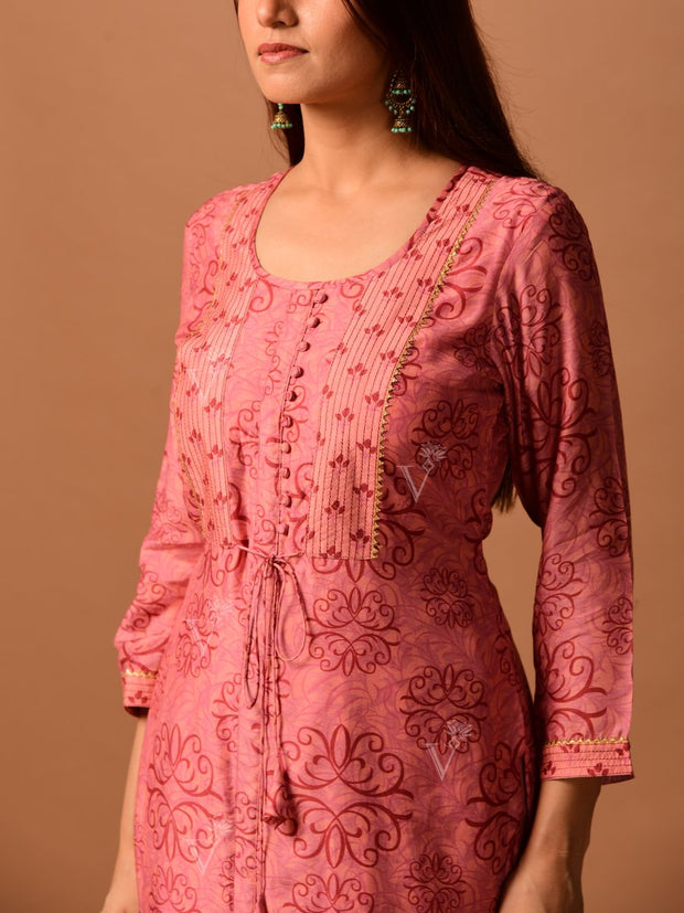 Onion Pink Silk Printed Kurta Set