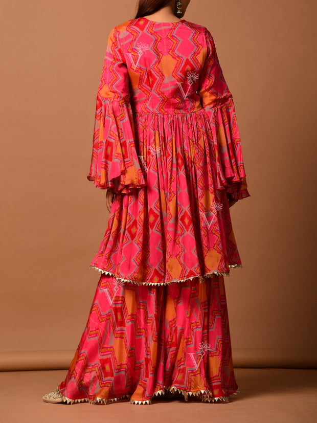 Pink Chiffon Printed Sharara Set