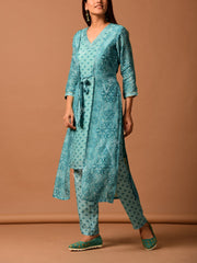 Light Blue Silk Printed kurta Set