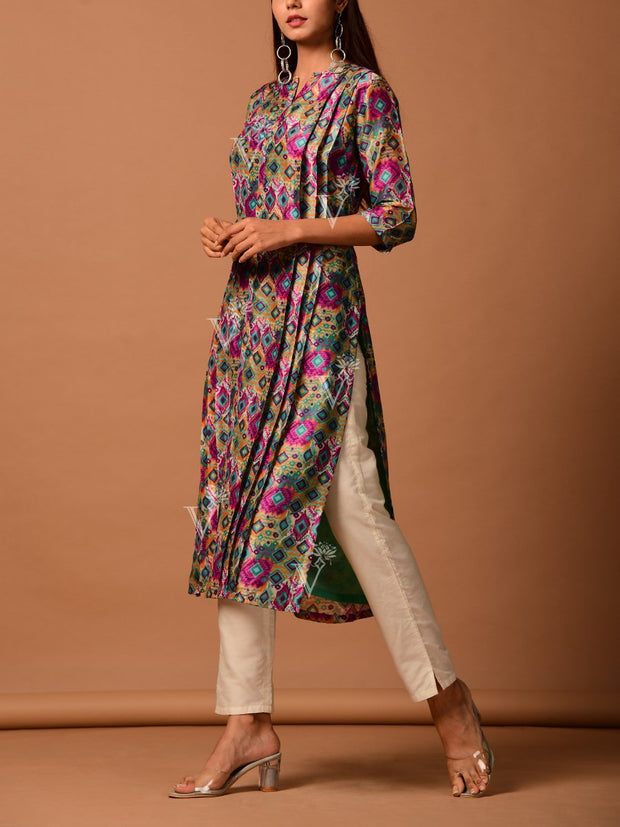 Pink Ikat Printed Cotton Silk Kurti
