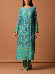 Turquoise Blue Silk Printed Suit Set