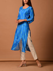 Blue Cotton Silk Kurta