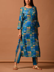 Blue Color Block Silk Printed Kurta Set