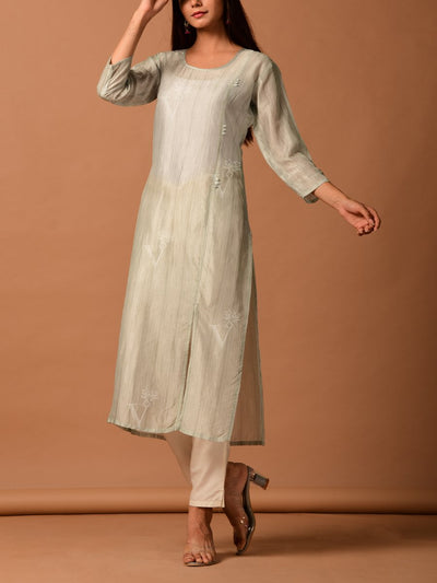 Off White Silk Straight Kurta Set