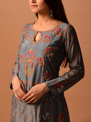 Grey Cotton Silk Suit Set