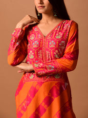 Orange Leheriya Printed Suit Set