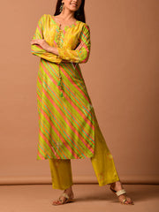 Lime Green Leheriya Printed Kurta Set