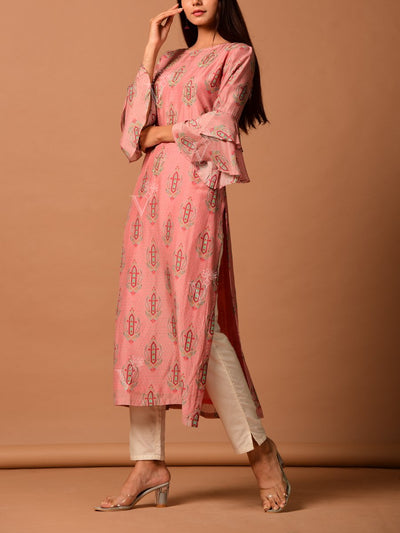 Peach Cotton Silk Kurta