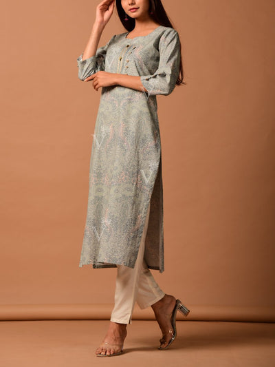 Grey Cotton 40x40 Kurta