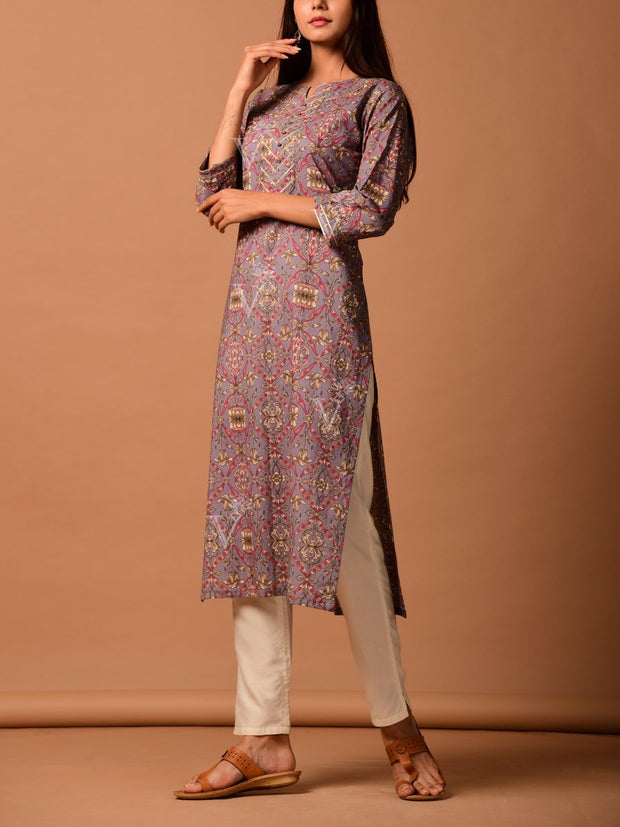 Grey Cotton Silk Kurta