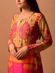 Peach And Yellow Printed Suit Set