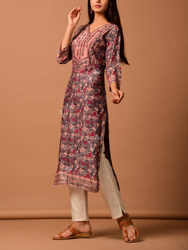 Grey Paisely Printed Straight Kurti