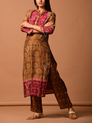 Brown Printed Bhadhani Kurta Set