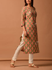 Green Cotton Printed Straight Kurti