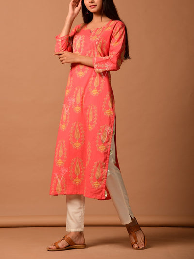 Peach Cotton Printed Straight Kurti