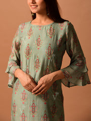 Sea Green Printed Straight Kurti