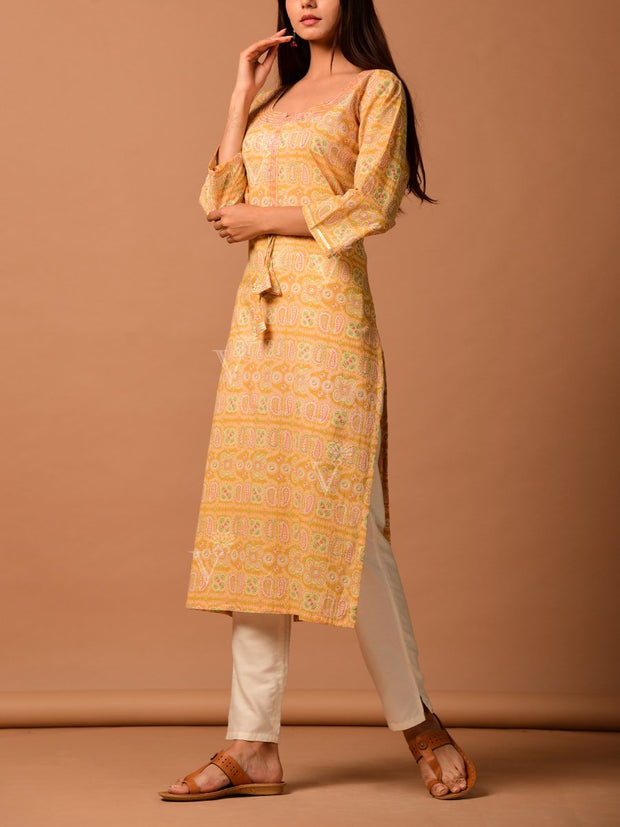 Pastel Yellow Cotton Printed Kurti