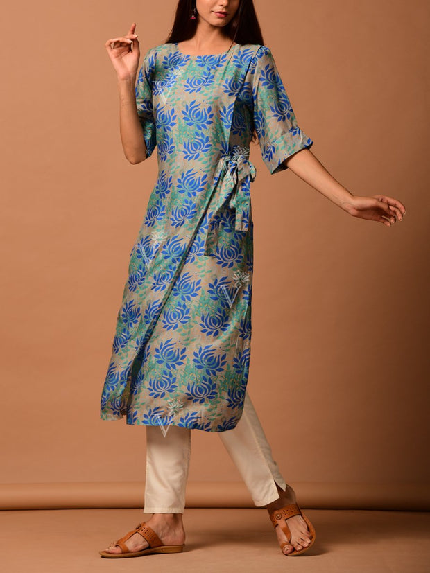 Beige And Blue Diagonal Cut Kurti