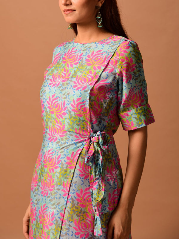 Aqua Blue And Pink Diagonal Cut Kurti