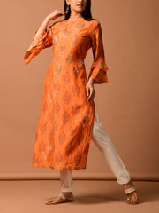 Orange Printed Straight Kurti