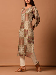 Brown Block Printed Silk Kurti