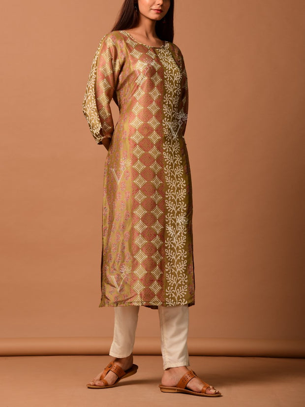 Brown Block Printed Kurti