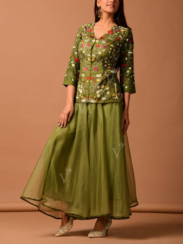 Green Organza Palazzo With Embroidered Peplum Top