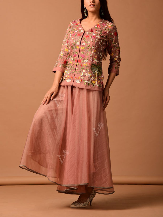 Rose Pink Organza Sharara With Embroidered Peplum Top