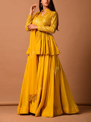 Yellow Silk Pallazo With Sequin Top