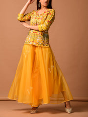 Yellow Organza Palazzo With Embroidered Pepulm Top