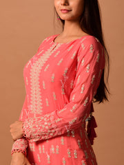 Peach Ombre Embroidered Suit Set